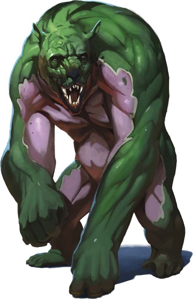 Aeorian Reverser.  It looks like a big green and purple gorilla with a dog face and no fur.